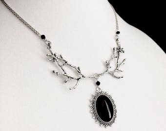 Black Cameo Necklace, Branch Necklace, Gothic Jewelry, Witchy Jewelry, Gothic Necklace, Forest Necklace, Black Agate, Victorian Gothic