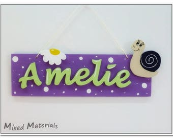 "Child name tag ""worm + flower"""