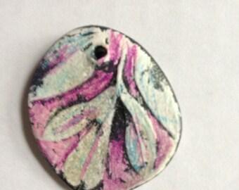 Handmade clay pendant sage  jewelry craft supplies  handmade pendant charm bead  jewelry supply