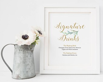 """Signature Drinks Sign, Bride and Groom Cocktails, Printable Signature Drink Sign Wedding, 8x10"""", Greenery, Wedding Signage. Edit in ACROBAT"""
