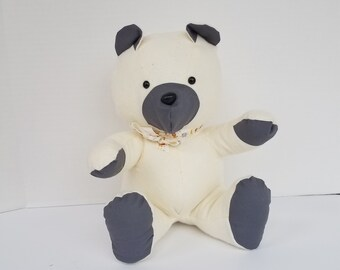 Cream and Gray Teddy bear - Flannel Teddy Bear - Smal-Teddy Bear - Handmade Teddy Bear - Teddy Bear - Stuffed Bear - Stuffed Teddy Bear