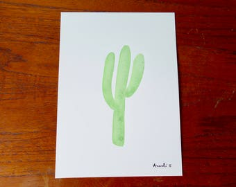 Cactus painted in watercolor on 13 x 18 cm / / Illustration / / gift for her / / wall decor
