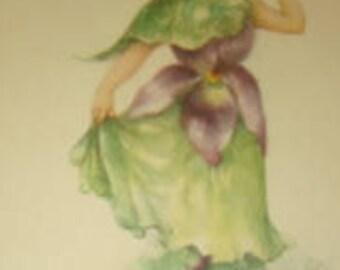 Vintage Violet Girl Valentine Postcard, Artist Signed, M Dulk