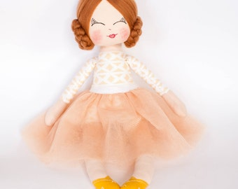 Princess doll, fabric doll, cloth doll, rag doll, light brown hair, golden crown, gold tutu, birthday gift, girl gift, nursery decor