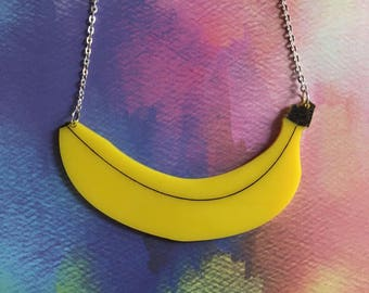 Laser Cut Acrylic Banana Necklace Fruit Necklace Statement Pop Art Necklace