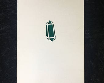 Green Crystal Cut Out Sketchbook     Handmade