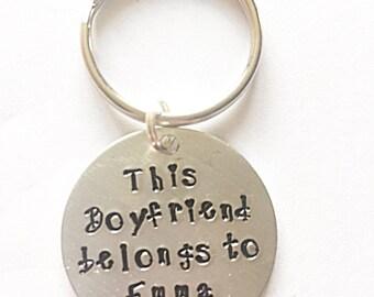 Hand Stamped Boyfriend Keyring - This Boyfriend Belongs To Keyring - Boyfriend Keychain - Boyfriend Keyring - Valentines Gift - Gift For Him