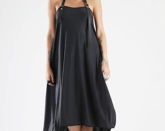 Black Dress, Backless Dress, Maxi Dress, Gothic Clothing, Asymetric Dress