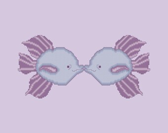 Purple and Violet Kissing Fish Cross Stitch Pattern PDF Digital Download