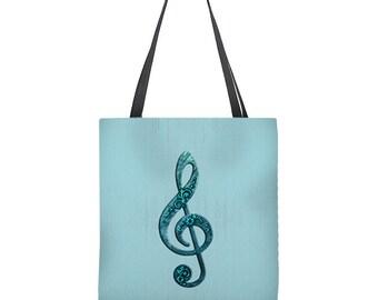Music Tote Bag, music bag, treble clef, g clef bag, aqua tote bag, turquoise tote bag, music teacher gift, band teacher gift, musical gift