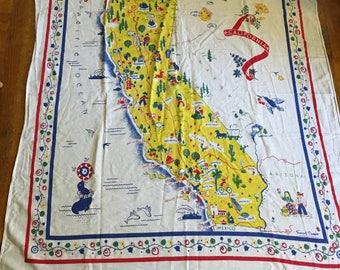 Vintage Midcentury Margaret Newport California Map Souvenir Tablecloth