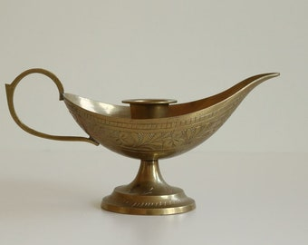 Oriental Brass Hand Engraved Candlestick Holder