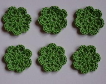 set of 6 small green flowers crocheted diameter 3 cm