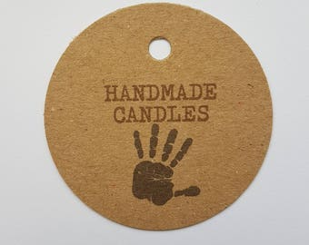 10x Handmade candle tags, handmade tags, swing tags, gift tags, tags, labels, swing tags, candles, wedding favours, hand made crafts, gifts