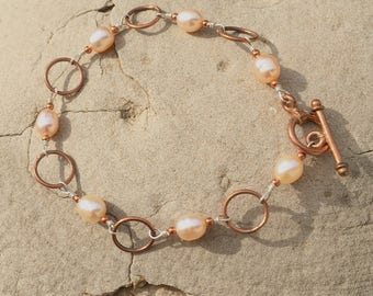 Sterling Silver & Copper Bracelet with Pink Pearls