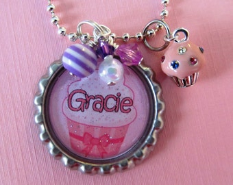 Girls Birthday Gift Cupcake Theme Birthday Party Favor Personalized Name Necklace Pink Cupcake Charm Bottlecap Birthday Gift