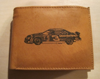 """Mankind Wallets Men's Leather RFID Blocking Billfold w/ """"Dale Earnhardt's #3 Goodwrench Chevrolet""""~Makes a Great Gift!"""