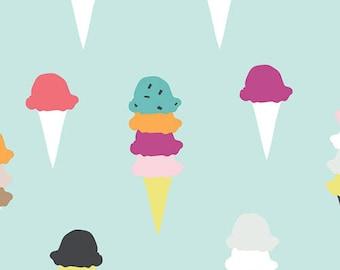 Ice Cream Cone, I Scream, You Scream, Art Gallery, Boardwalk Delight, Summer, Ice Cream, Aqua, 100% Cotton, Choose Your Cut