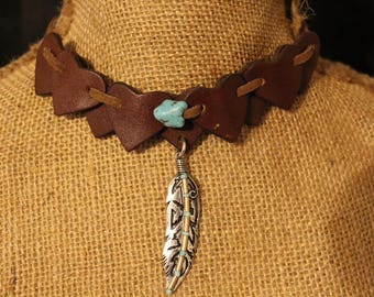 Leather Heart with Feather Choker