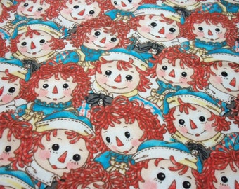 Raggedy Ann & Andy Fabric Faces Rare and Hard to find Flannel HTF Rare BTFQ
