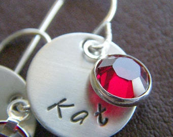 Personalized Initial Earrings - Hand Stamped Sterling Silver - Petite Charm Earrings with Birthstone Drops