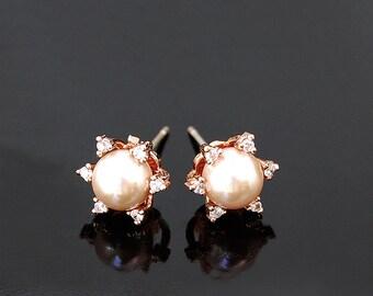 Blush Wedding Jewelry 251ERG. PINK PEARL Earrings. Rose Gold Bridal Earrings. CZ & Blush Pink Pearl Earrings, Bridal jewelry Bridesmaid gift