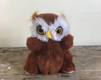 Owl stuffed toy, brown plush, small sized 7 inches tall, no bum tag