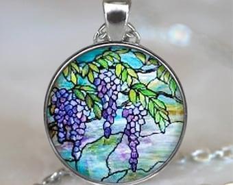 Tiffany Stained Glass Wisteria necklace, flower pendant Tiffany stained glass symbolic jewelry Easter jewelry key ring key chain key fob