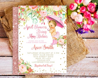 April shower invitation, floral april shower invite, April Showers Bring May babies, April Showers Bring May Flowers, Rose Gold invites