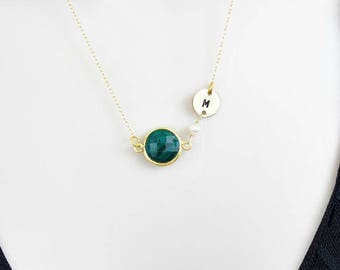 Birthstone Necklace, Personalized Necklace, Gold Initial Necklace, Monogram Necklace, Emerald Necklace, May Birthstone Jewelry, Custom