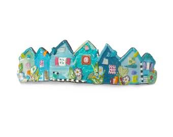 Little houses hair Barrette, Blue Green fairy Village hair clip, handmade polymer clay French barrette, French clip 70mm Large hair barrette