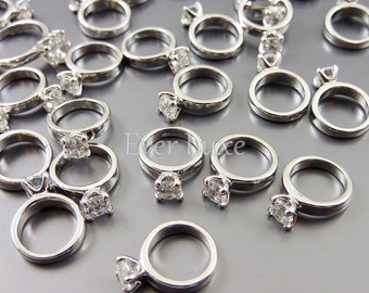 4 Miniature silver engagement rings, wedding promise rings, bridal jewelry, ring charms, DIY weddings 1839-BR