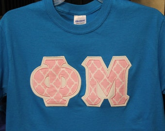 Phi Mu Letter Shirt (3 to choose from) Ready to Ship!