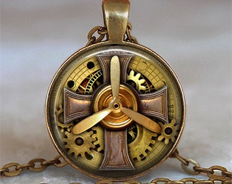Steampunk Aviator pendant, Steampunk pilot pendant aviator gift airplane pilot gift pilot pendant keychain key chain key ring key fob
