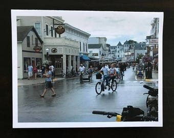 Mackinaw Island fine art watercolor print, Summertime in the streets full of horses, carriage's, bikes, people walking by Janet Dosenberry