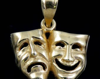 Classic 14K Yellow Gold Comedy & Tragedy Theater Mask Charm