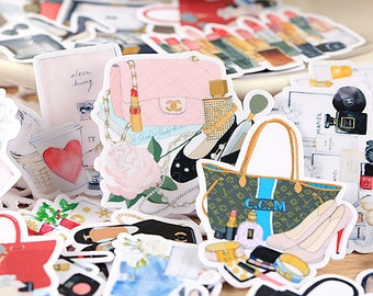 33pcs Bags & Make up Goods Stickers—Scrapbooking Stickers, Cut Out Planner Stickers, Korean Stationery,Laptop Sticker,Phone Sticker,Fashion