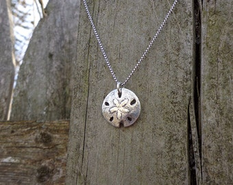 Silver Sand Dollar Necklace - Small Fine Silver Pendant on Oxidized Sterling Silver Chain