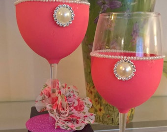 Shabby Chic - Coral - Set of 2 Wine Glasses