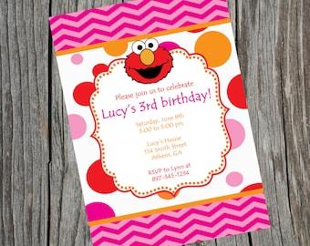 Elmo Invitation.  Elmo birthday Invitation.  Elmo Invite.  Elmo Party.  Elmo Printable. Digital Invitation.  Sesame Street Invitation.