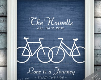 Bike Ride On Love - Custom Bicycle Wedding Name Date Print - Personalized Gift - Bridal Shower Gift - Engagement Present - Unframed