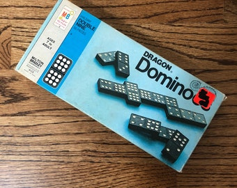 Vintage 1970 Wooden Dragon Dominoes Halsam Double Nine 55 Pieces MILTON BRADLEY Family Game Night