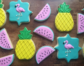 Summer time, tropical themed cookies
