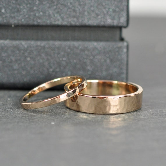 Rose Gold Wedding Band Set 2mm and 5mm Rings 18K Rose Gold