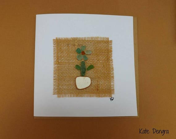 Sea Glass Flower Greetings Card