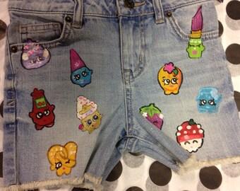 Hand Painted Denim Cut Offs, Jackets, Vests Shopkin Inspired Art