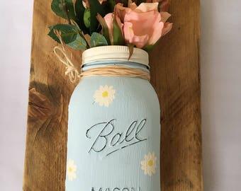 Chalk Painted Mason Jar - Reclaimed Wood - Wood Mounted Mason Jar - Wall Decor - Shabby Chic Style - New Home Gift - Wall Art - Mason Jar