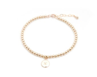 3mm gold ball bracelet with initial tag,Personalized bracelet