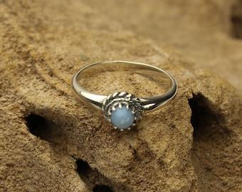 Blue Opal Ring, Owyhee Blue Opal Ring Bezel Set in Sterling Silver, Stacking Ring