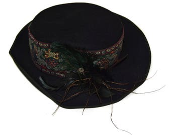 Vintage fedora black hat feather embroidery